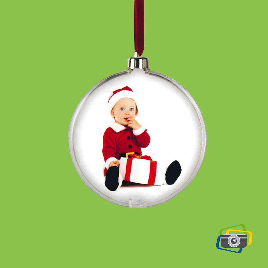 Palla di Natale argentata con foto